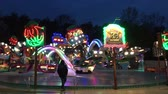 ahtapot : BERLIN, Germany - JUNE 3, 2017: Funfair Ride (Ride) Krake at German Fun Fair (Kirmes) at night - 4K