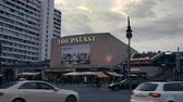 kino : Berlin, Germany - July 13, 2018: Famous Film Theatre  Cinema Zoo Palast before Evening Sky in 4K