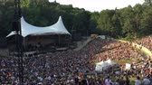aplauso : BERLIN - JULY 5, 2018: people in sold-out forest stage waiting for open Air Rock Concert to start (Pearl Jam)