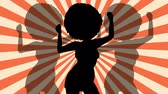 cabelos cacheados : Dancing Silhouette afro woman. Retro rays. Disco. Flat loop animation.