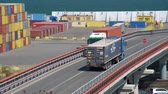 オデッサ : Industrial port in Odessa city, Ukraine, May 4, 2019 - Trucks are going across the industrial seaport