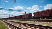 Industrial railway - wagons, rails and infrastructure, electric power supply, Cargo transportation and shipping concept. 動画素材