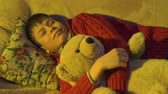 brinquedos : Boy sleeping with bear toy, then he wakes up and plays