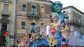neuf : Acireale (CT), Italy - February 11, 2018: detail of a allegorical float depicting satire on Italian justice during the carnival parade along the streets of Acireale.