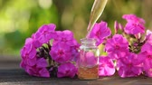 экстракт : Essence of flowers on a table in a beautiful glass jar