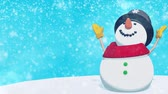 ano : Christmas Snowman in the winter snow. HD video footage.