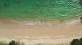 south australia : Aerial view of tropical white sand beach at Sunrise Beach Stock Footage