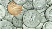 nickel : Pan of USA coins, American coins for business, money, financial and economy concept background Stock Footage
