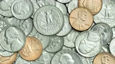 nickel : Dolly, Tilt up VDO of Various US coins, American coins for business, money, financial and economy concept background, title, end credit. Video 4K Pile of Golden coin, silver coin, copper coin, quarters, nickels, dimes, pennies, fifty cent piece and dollar