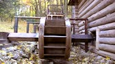 roof : Mountain wooden temporary housing in the Carpathian forest, Ukraine Stock Footage