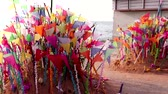 cultura thai : A colorful flags on sandy pagoda in Thai Songkran Festival, Thailand