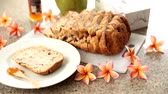 snacks : Homemade bread with apricot jam and fresh coconut, Food background Stock Footage