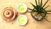 tea pot : Green tea set on wood table, Top view with copy space