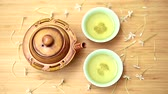 tea bowl : Green tea set on wood table, Top view with copy space