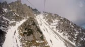 Time-lapse of Funiculars (gondola) climbing the mountain to Hafelekar Station. Hafelekarspitze Innsbruck Austria Wideo