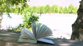 zingeving : The wind flutters the pages of the book left on the table in nature.