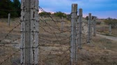 bordure : The fence of concrete pillars and rusty barbed wire. In the background is the sunset.