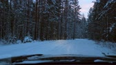 ladin : The car moves on a snowy forest road at dusk. Winter season. View from the front window of the car.