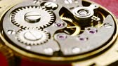 The mechanism of old mechanical wrist watches close-up.