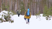 ladin : A young man and a girl are walking along a winter forest path with backpacks on their shoulders. Slow motion. Stok Video