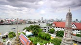praya : timelaspes of boat passing on Chao praya river
