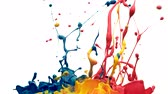drop : Colorful paint bouncing and making splash. Shot with high speed camera, phantom flex 4K. Slow Motion.