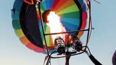 baloon : hot air baloon double burner firing in air Stock Footage