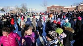 festividades : Sviyagsk, Russia - 26 February 2017: The pancake week - Russian ethnical carnival - Maslennica - Shrovetide - the crowd dances before the burning of effigies of winter