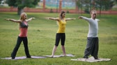 soul searching : Yoga sportsmen in park - performs exercise outdoors outdoor at morning Stock Footage