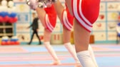 entusiasmo : Attractive cheerleaders in red dresses dancing at the karate championship