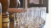 banquete : Different glasses at the bar in restaurant Stock Footage
