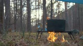 cookware : Cooking food in black iron cauldron on the campfire in forest