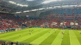barátság : KAZAN, RUSSIA - 20 june 2018: FIFA World Cup 2018 -Kazan arena stadium - match Iram-Spain Stock mozgókép