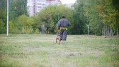 guardian dog : Man in a protective suit coaches his shepherd dog to attack. Running in slow motion