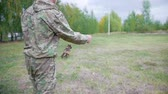захват : Trainer throws up the stick and trained sheepdog, catches it and giving back