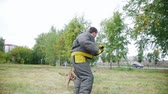 toka : Training sheepdog on attacking. The man wearing protection