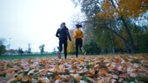 бегун : Young fit women running away from the camera in the autumn park. Стоковые видеозаписи
