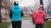 gymnastic : An old woman gives hand signal and two elderly women starts walking on sticks of nordic walking
