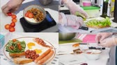 salsicha : 4 in 1 - making healthy nourishing tasty breakfast. bright beautiful kitchen Stock Footage