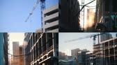 guindastes : 4 in 1 - industrial concept. construction site among the city Stock Footage