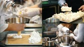meringa : 4 in 1: Making meringue at the bakery kitchen