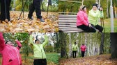adultos mayores : 4 in 1: Mature women doing sports and throwing leaves in autumn park having a walk