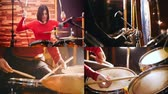microphone : 4 in 1: Repetition. Drummer girl concentratedly playing drums