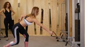 spor salonu : Young women doing fitness in the gym. A woman doing strength exercises