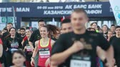 maraton : 05-05-2019 RUSSIA, KAZAN: A running marathon starting. Different people jogging