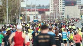 kocogás : 05-05-2019 RUSSIA, KAZAN: A running marathon. A big crowd of people running on the road
