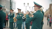 армия : RUSSIA, KAZAN 09-08-2019: A wind instrument military parade
