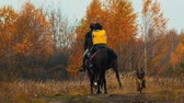 yelek : Two women riding horses in the autumn nature - a dog following them Stok Video