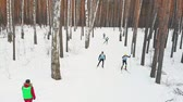 narciarz : RUSSIA, KAZAN 08-02-2020: Skiing competition - people skiing in the forest Wideo