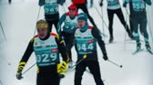 narciarz : RUSSIA, KAZAN 08-02-2020: Skiing competition - people sportsmen skiing